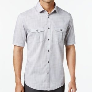 ALFANI CREAM BUTTON DOWN SHORT SLEEVE SHIRT (0280)